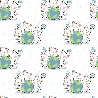 シームレス3かわいい猫は世界のパターンが大好き