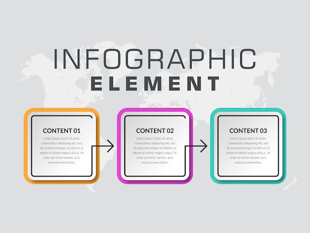 3ポイントのシンプルなインフォグラフィック要素のビジネス戦略