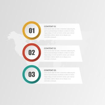 3ポイントの抽象的なインフォグラフィックタイムラインビジネス戦略