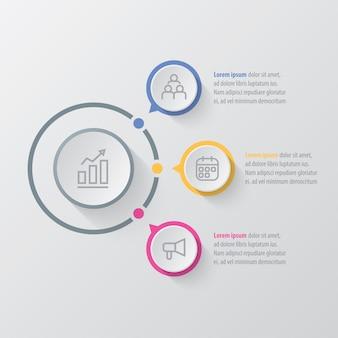 Презентационный бизнес-инфографический шаблон с 3 вариантами.