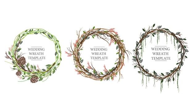 水彩風の枝の3つの花輪