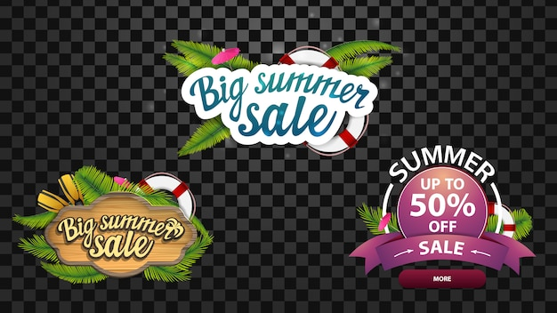 大きな夏のセール、夏の装飾を施したロゴの形の3つの割引ウェブバナー