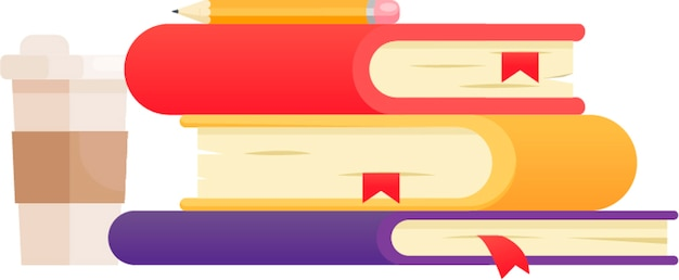 色違いの3冊の本のイラスト。コーヒーとポラロイドショット。