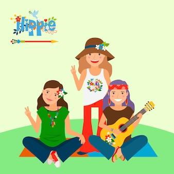 3人のヒッピーの女の子とギター