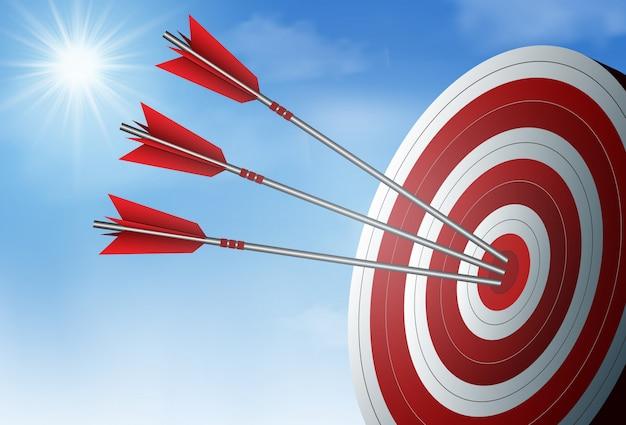 赤の3本の矢がターゲットサークルにダーツ。ビジネス成功の目標空と太陽の背景に。独創的なアイデア。ベクトルイラスト