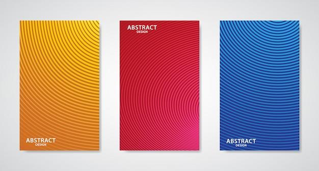 3つの抽象的なラインデザインカバーのセット