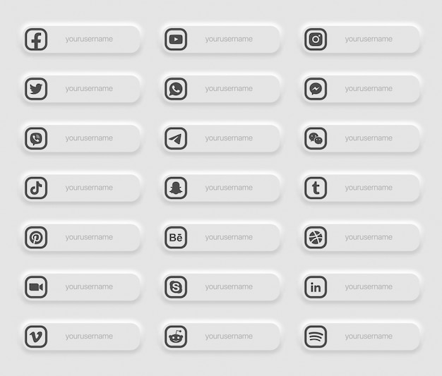 バナー人気のソーシャルメディアの下部の3番目のアイコン