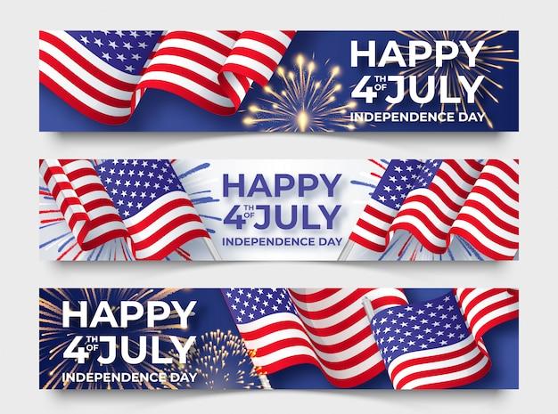 アメリカの国旗と3つの水平方向のバナー