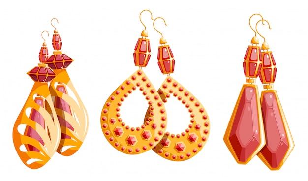 女性のイヤリングの3つの美しいゴールドセット