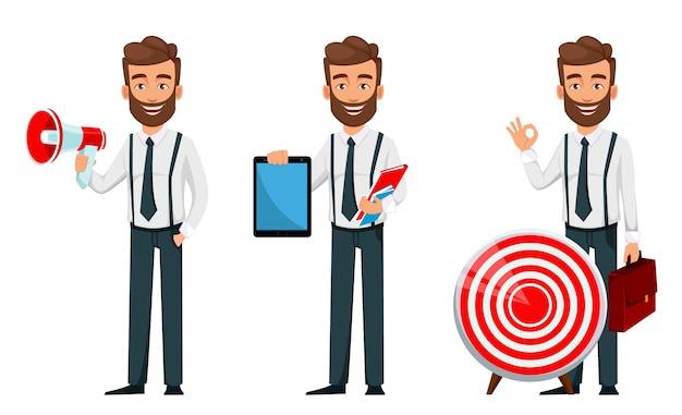 ビジネスの男性漫画のキャラクター、3つのポーズのセット