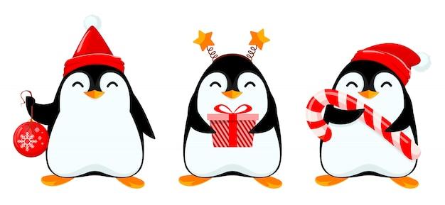 かわいい小さなペンギン、3つのポーズのセット