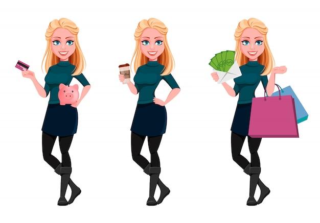 3つのポーズの若い美しいビジネス女性セット
