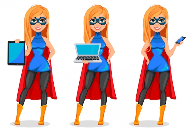 ビジネス女性スーパーヒーロー、3ポーズのセット