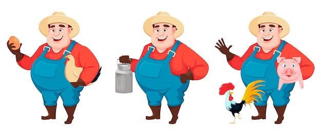 太った農夫、農学者、3つのポーズキャラクターのセット