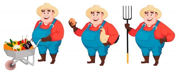 太った農夫、農学者、3つのポーズのセット