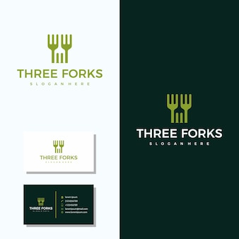 名刺ロゴデザインと3つのフォークレストランのロゴ