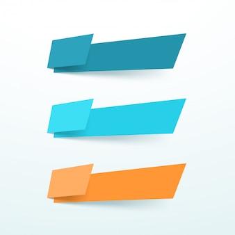 3つのベクトルテキストボックス抽象図形要素セットをカット