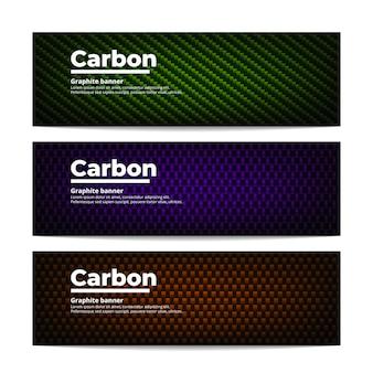 3つの異なるカーボンファイバーバナーのテンプレート。カラフルグラファイト