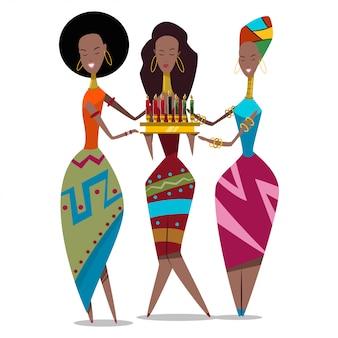 ろうそくを持つ3つのアフリカの女性
