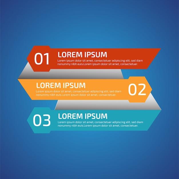 Инфографические элементы дизайна с 3 разными цветами