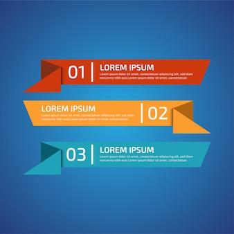 3つの異なる色のインフォグラフィックデザイン要素