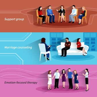 Консультирование по вопросам брака и отношений с групповой терапией поддержки 3 плоских горизонтальных баннера набор абстрактных изолированных векторные иллюстрации