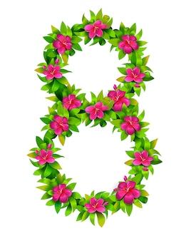 女性の日、3月カードテンプレート。花番号の図。