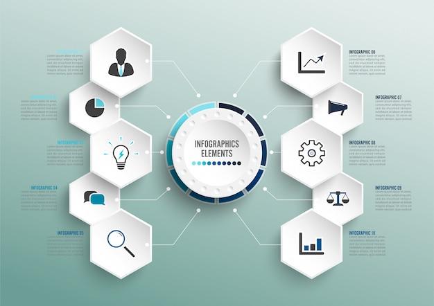 3d統合されたサークルを持つベクターインフォグラフィックテンプレート。 10のオプションを持つビジネスコンセプト。コンテンツ、図、フローチャート、手順、部品、タイムラインインフォグラフィック、ワークフロー、グラフ。