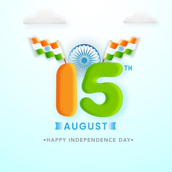 3d 15th number of august with indian flags and clouds on light cyan background.
