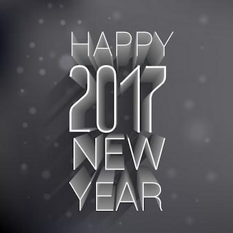 黒の背景に3d幸せな新年2017年のテキスト