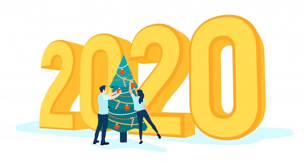 3d 2020ゴールデンナンバー。新年あけましておめでとうございます2020。人々はクリスマスツリーを飾る。
