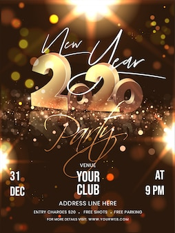 Дизайн рогульки партии нового года с 3d золотыми текстом 2020 и деталями события на предпосылке светового эффекта брайна bokeh.