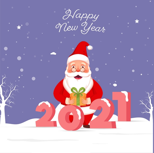 3d 2021 number with cheerful santa claus holding a git box on snow falling