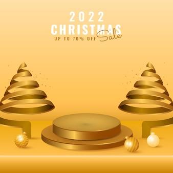 3d 2022新年あけましておめでとうございます、表彰台の製品ディスプレイ、スパイラルツリー、ゴールデンボールのメリークリスマスセールバナー