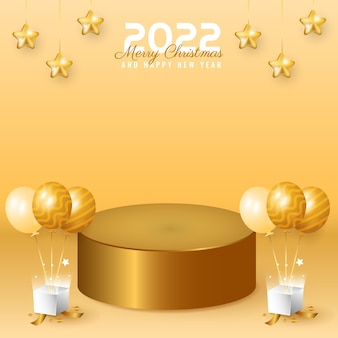 3d 2022 happy new year and merry christmas banner with high podium, balloon and gift box