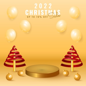 3d 2022 happy new year and merry christmas sale banner with podium, tree, ball, and balloon