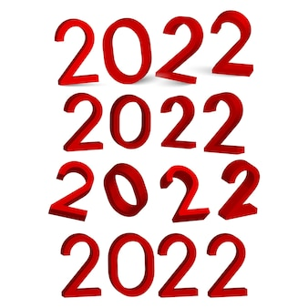 3d 2022 red numbers for greeting card. vector