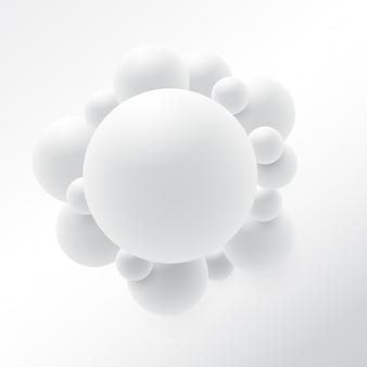 抽象的な3d球デザイン。 3 d分子コンセプト、原子。白い背景の上