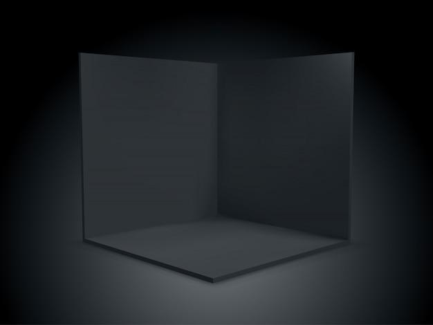 キューブボックス3d、内部断面内のコーナールーム。テンプレート内の黒い透明な空の幾何学的な正方形の3dキューブボックス