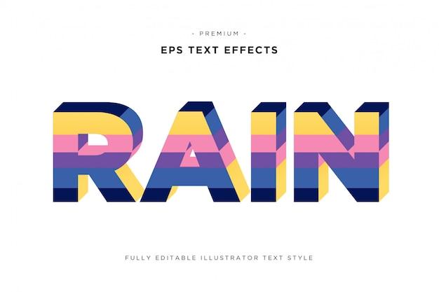 雨のカラフルな3dテキストスタイル-3dストライプテキスト効果
