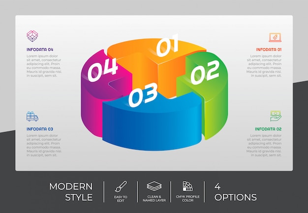 3d шаг инфографики дизайн с 4 вариантами и красочным стилем для презентации.