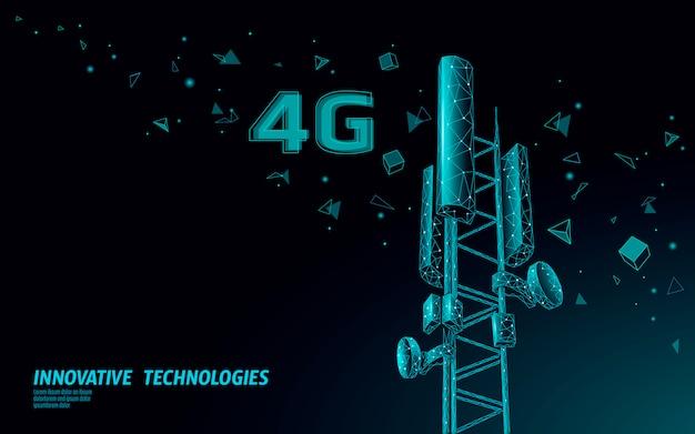Приемник базовой станции 3d. телекоммуникационная башня 4g полигональный дизайн глобальной связи передатчик информации.