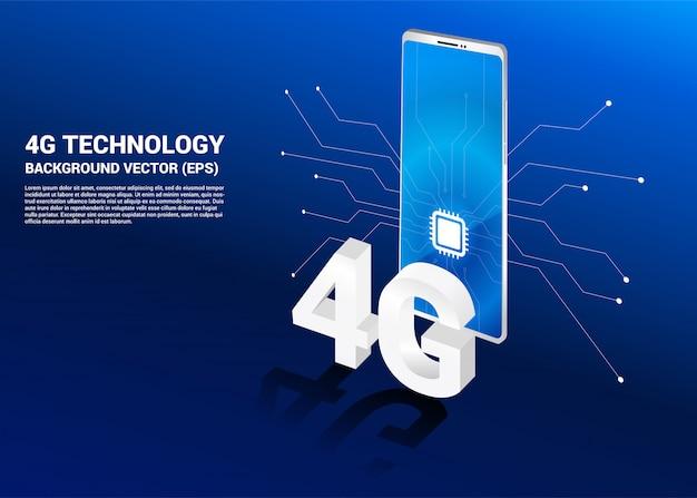 3d изометрические 4g и мобильный телефон с иконой процессора.