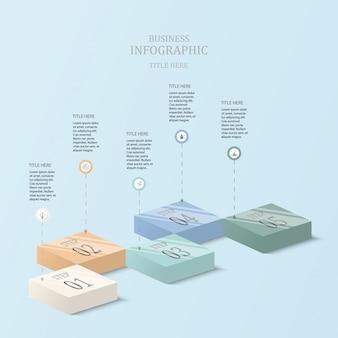 Блок 3d инфографика с 5 шагов и синего цвета.