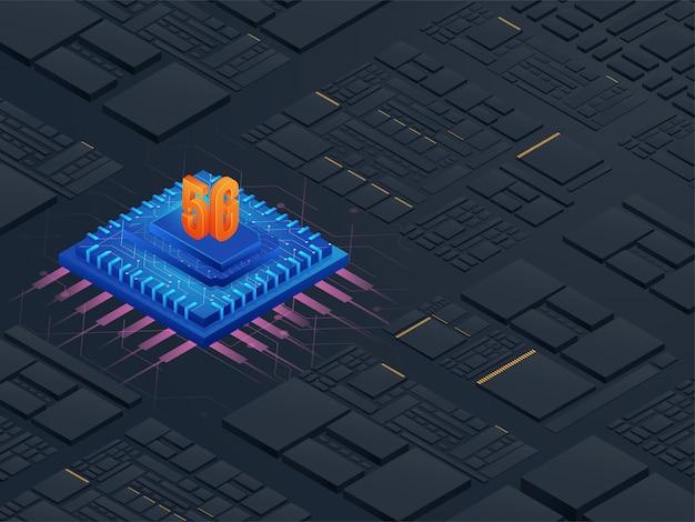 3d текст 5g на синем чипе