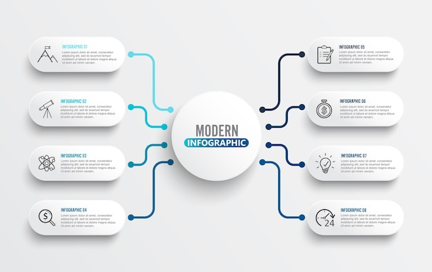 3dペーパーラベルを用いたベクターインフォグラフィックテンプレート。 8つのオプションを持つビジネスコンセプト。
