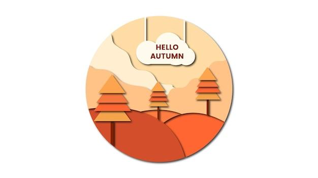3d абстрактный фон осень с формой вырезки из бумаги