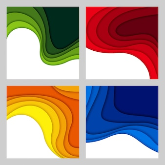 3d abstract background and paper cut shapes