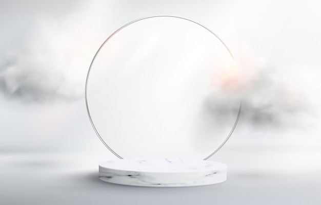 3d abstract background with marble pedestal. round frame made of frosted glass with clouds. minimalistic realistic image of an empty podium to showcase cosmetics products.