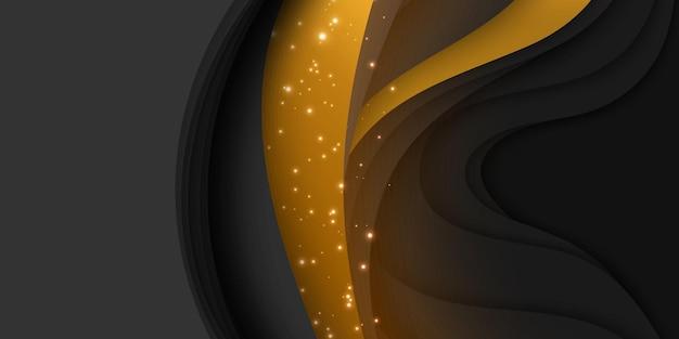 Fondo astratto 3d con forma del taglio della carta. arte di intaglio scuro colorato con oro e scintillii.